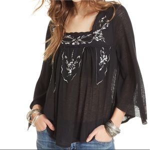 Free People Embroidered Ruffled Peasant Top